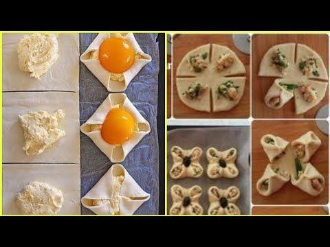 طريقة تشكيل معجنات وفطائر بالعجينة الملكية الرائعة Pastries And Pies With Wonderful Royal Dough Youtube Food Breakfast Eggs