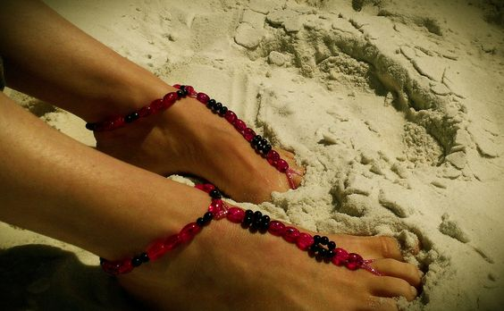 LAST pair SALE    6.99   Hot Pink and Black by FootJewelrybyDanya, $6.99