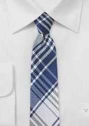 Glencheckmuster-Krawatte schlank ultramarinblau schneeweiß günstig kaufen
