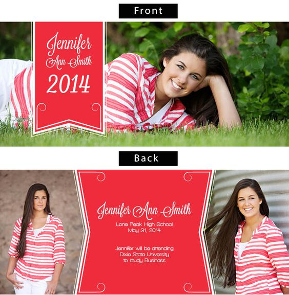 Ribbon Success Double Sided Photo Graduation Announcements.
