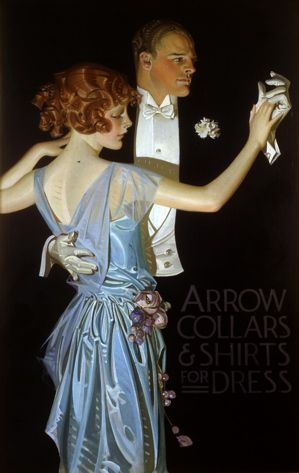 Arrow Collar Ad, J. C. Leyendecker. Leyendecker's Arrow Collar Man, as well as the images he later created for Kuppenheimer Suits and Interwoven Socks, came to define the fashionable American male during the early decades of the twentieth century. Leyendecker often used his favorite model and lover Charles Beach (1886–1952).