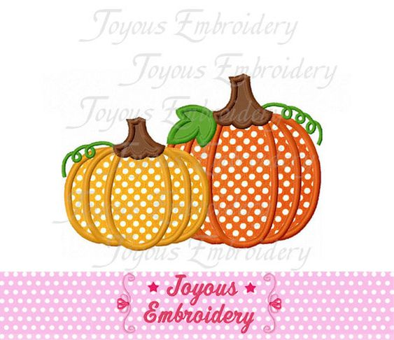 Thanksgiving Two Pumpkins Applique Machine Embroidery Design