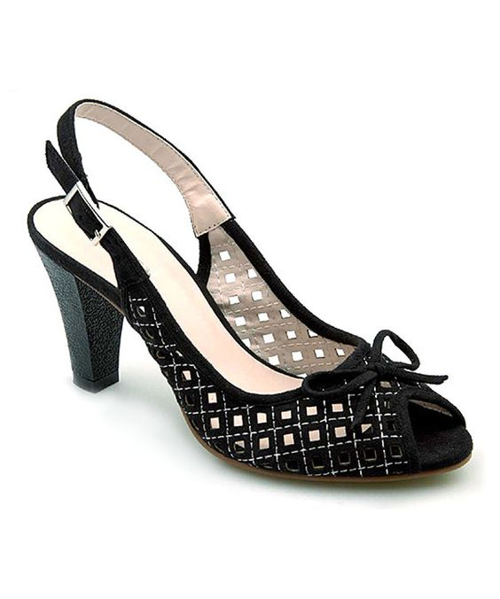 Look at this Black Lattice Perforated Peep-Toe Sandal on #zulily today!