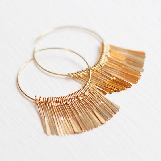 Gold hoops earrings nickel free. Simple Elegant Drop by Folirin