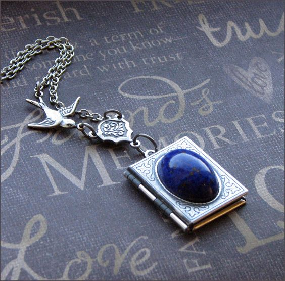 Locket Necklace - Ornate Scrolled Book - Sparrow in Flight  - Enchanted Lapis Lazuli - By TheEnchantedLocket: Lapis Jewelry, Lapis Lazuli Jewelry, Locket Necklace, Book Sparrow, Enchanted Lapis, Locket Enchanted, Flight Enchanted, Silver Book