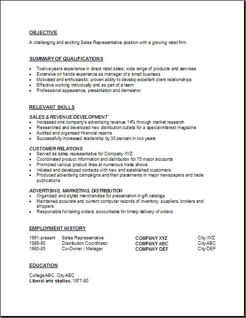 Insurance Sales Representative Resume -    wwwresumecareer - Sales Representative Resume