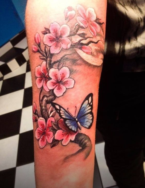 Beautiful pink-ink cherry blossom and blue-ink butterfly ...