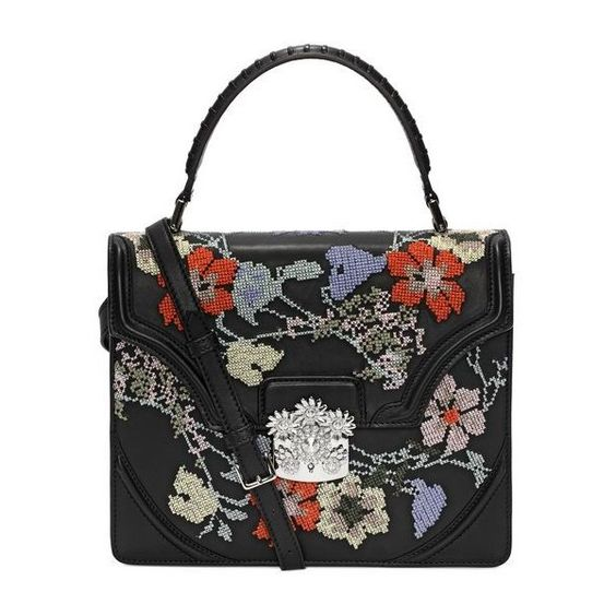Embroidered Nappa Flower Satchel (35.870.440 IDR) ❤ liked on Polyvore featuring bags, handbags, alexander mcqueen bags, flower purse, alexander mcqueen, embroidery purse and alexander mcqueen handbags