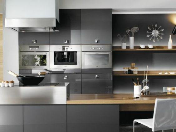 formidable modle cuisine gris anthracite quelques accents blancs et bois cuisine empreinte de