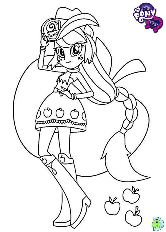 ARTE COM QUIANE - Paps,Moldes,E.V.A,Feltro,Costuras,Fofuchas 3D: My Little pony Equestria Girls para colorir (Applejack)