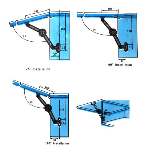 4 Soft Close Lift Up Stay Hinge Concealed Hardware Door Kitchen Cabinet Cupboard Cupboard Hinges Hinges Cupboard