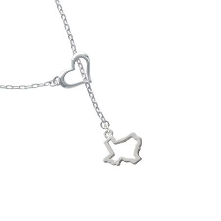 Texas Outline Heart Lariat Charm Necklace