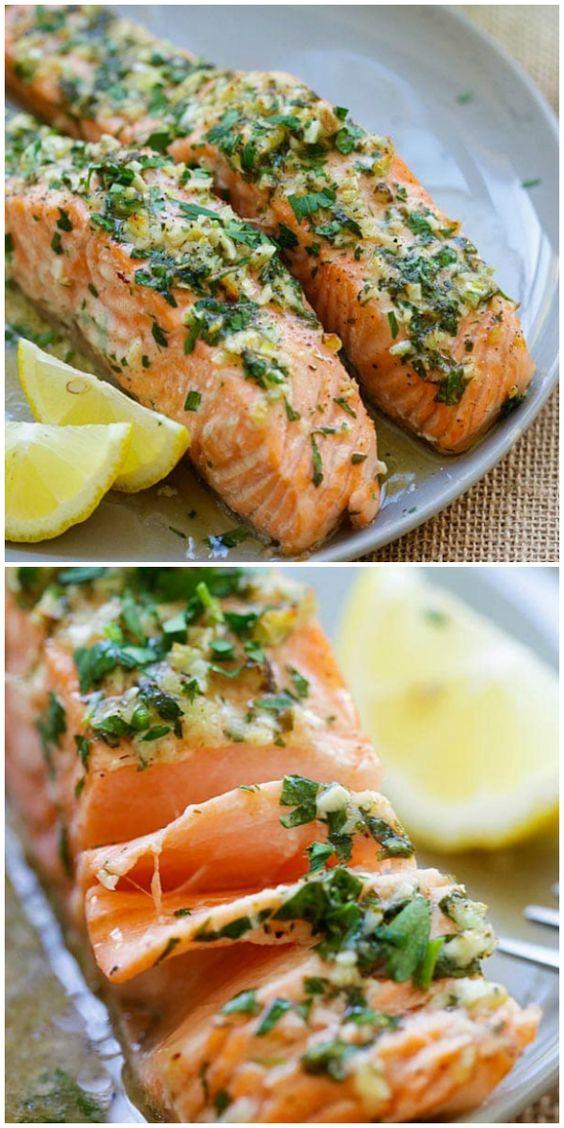 Garlic Herb Roasted Salmon - Mediterranean diet recipes