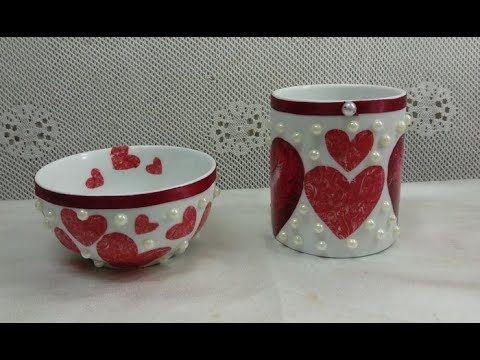 28 قلوب حمراء على فازة و بوله بيضاء Youtube Tableware Handicraft Bowl