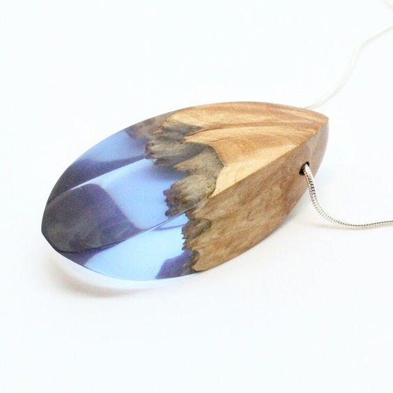 Blue resin and burl wood pendant. Made by ArtfulResin ArtfulResin.etsy.com