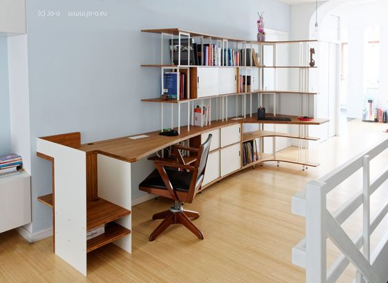 Home office space and bookshelf #office #desk #design