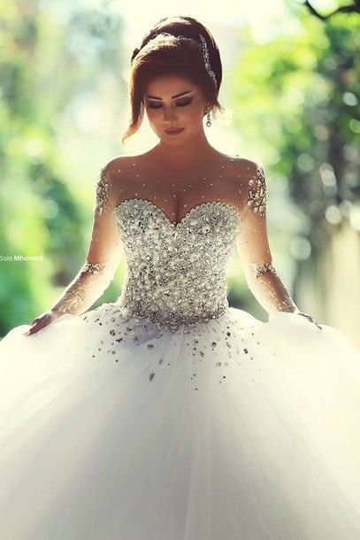Vestidos De Noiva Casamento Sheer Long Sleeve Princess Ball Gown Wedding Dresses 2015 Tulle Crystal Pearls Wedding Gowns: