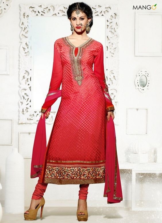 AMAZING RED BRASSO GEORGETTE CHURIDAR SUIT  CODE:-7833 PRICE:-2769/-
