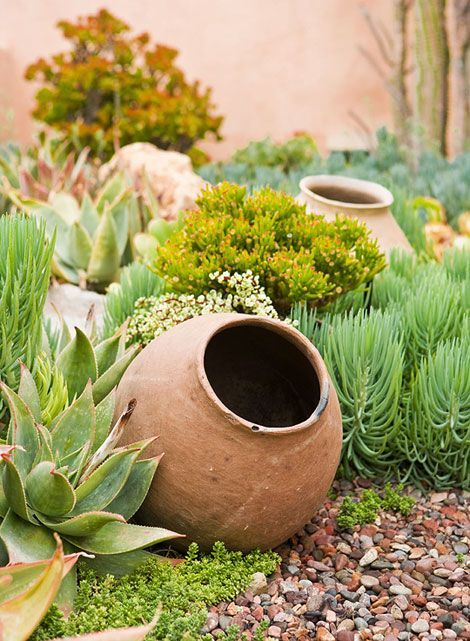 large urn in the garden succulents and water wise landscaping gardening