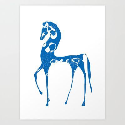 blue horse Art Print by grafik design kunst - $18.00