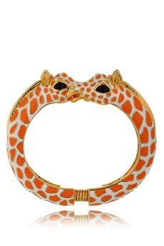Kenneth Jay Lane Giraffe Orange Enamel Hinged Bracelet -  Love Love