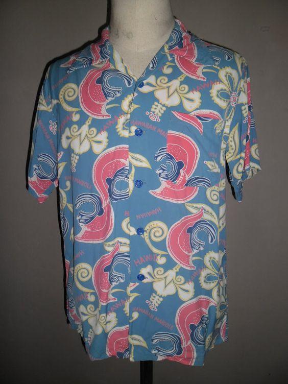 Sun Surf Blue Rayon Hawaiihemd Muster Köpfe von HAWAIIANDUKE