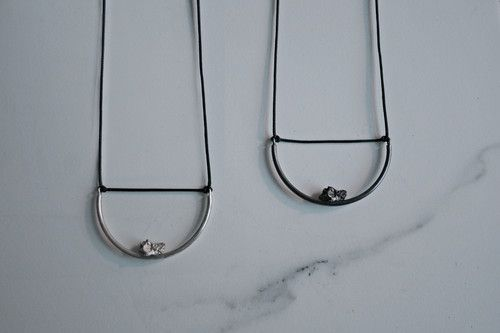 semi circle necklace in silver and oxydized silver
