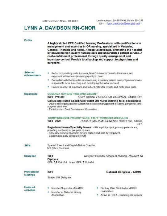 free-nurse-resume-sample I personally thought this was fascinating - professional profile examples