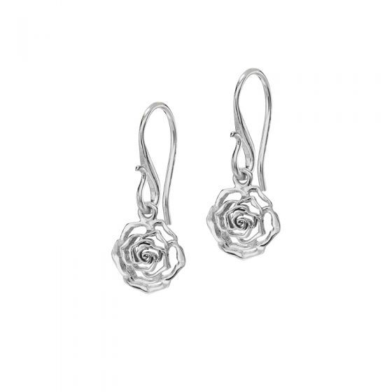 Sterling Silver 10mm Wild Rose Flower Drop Earrings Drop Earrings Silver Sterling Silver