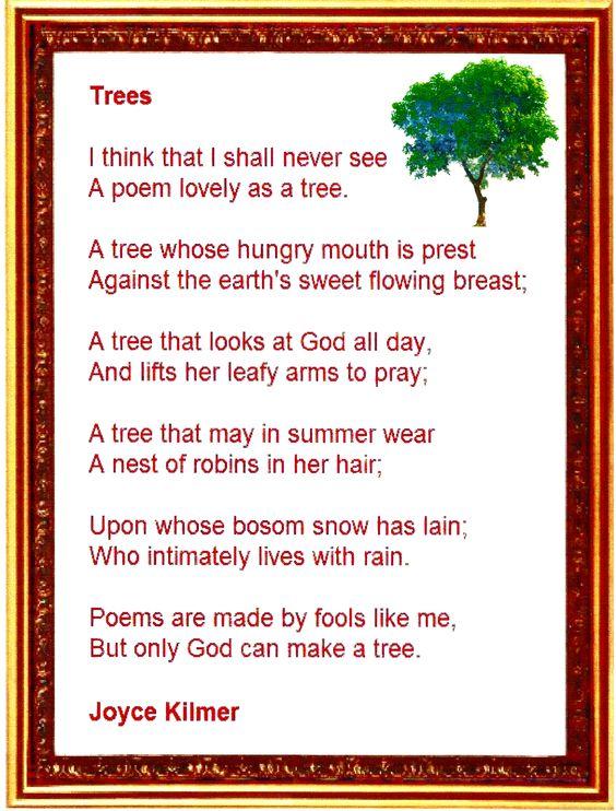 Trees - by Joyce Kilmer | Lyrics Chords & Poetry ...
