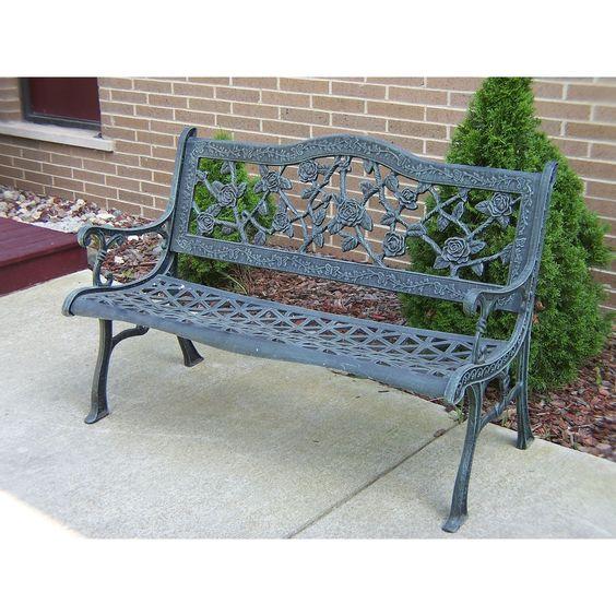 oakland living corporation camellia cast aluminum verdi grey bench