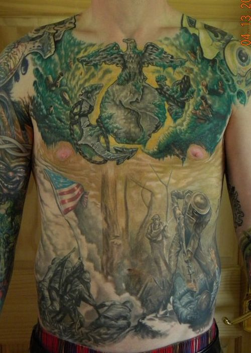 Chest corps tattoo designs for Usmc sleeve tattoo ideas