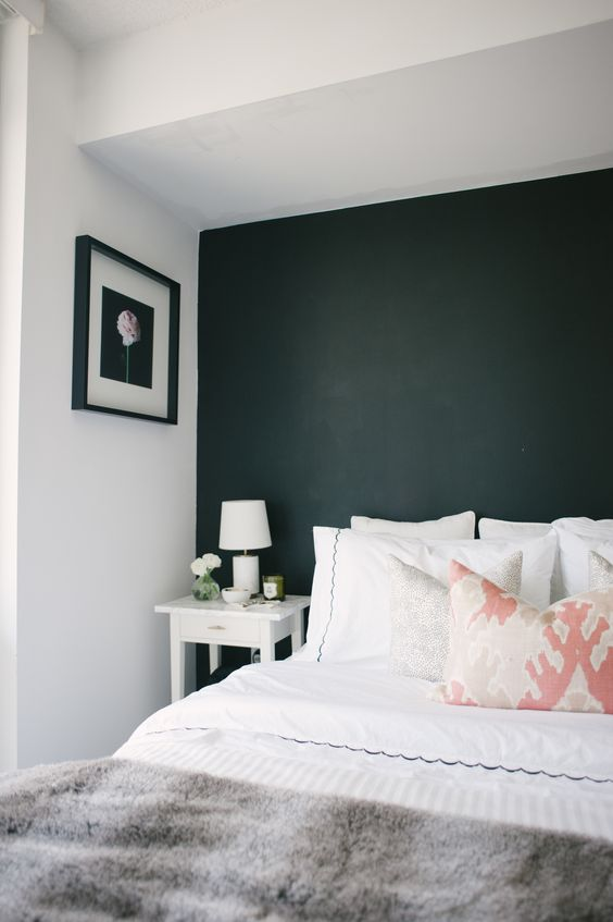 a bold black accent wall gives a crisp, modern feel View entire slideshow: Accent Walls that Wow on http://www.stylemepretty.com/collection/4066/: