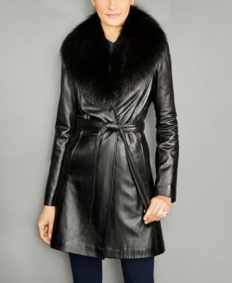 The Fur Vault Fox-Fur-Collar Belted Leather Coat | Coats, Shops ...