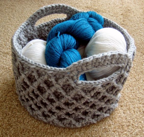 Crochet Diamond Trellis Basket by: Make My day Creative