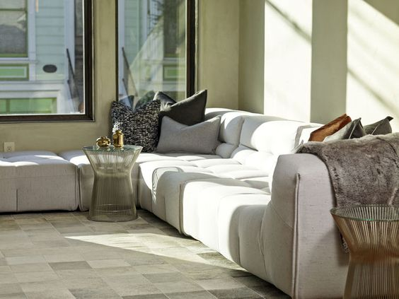 B&B Italia sofa and Warren Platner tables in a SF home