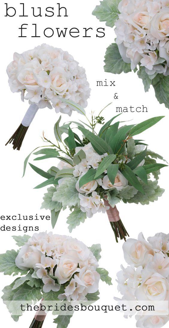 Blush Rose Artificial Wedding Bouquets Fake Wedding Flowers Seeded Eucalyptus Blush Pink Wedding Flowers Affordable Wedding Flowers Fake Wedding Flowers