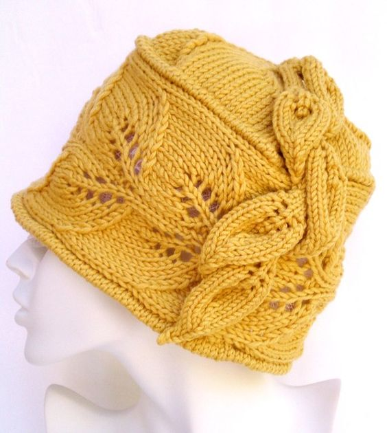 PDF Knit Hat Pattern - Trailing Leaves Hat / cloche ...