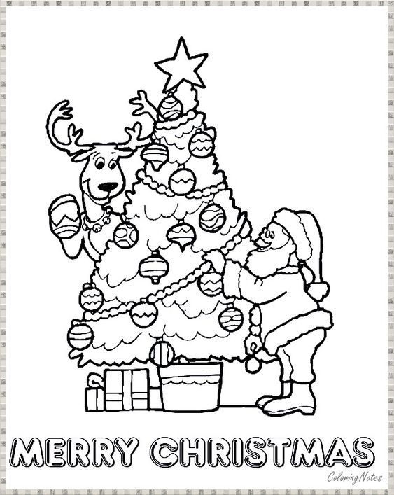 Santa Claus With Christmas Tree Coloring Pages Christmas Tree Coloring Page Tree Coloring Page Christmas Coloring Sheets