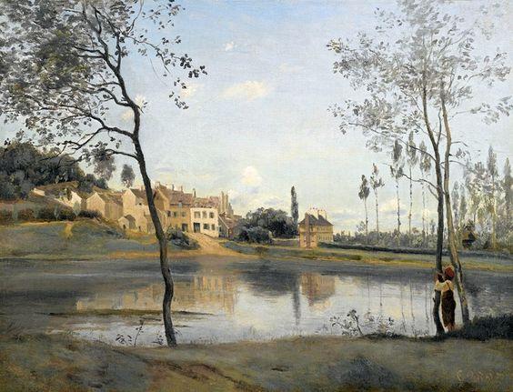 Jean-Baptiste-Camille Corot (French painter) 1796 - 1875 Ville d'Avray: l'Étang, la Maison de M. Corot Père et son Kiosque, 1825 oil on canvas 27 x 35 cm. (10.5 x 13.75 in.) signed COROT lower right private collection