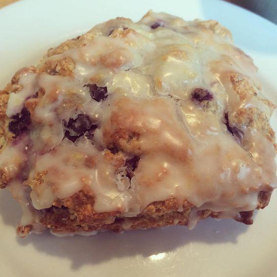 Blueberry scone with Lemon Glaze at Borealis Bakery #travel #food #scone #weekend #portland #maine