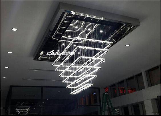 Pas cher Moderne de luxe carré haute puissance LED lustre salon en acier inoxydable k9 cristal lustre AC110 260V LED, Acheter  lustres de qualité directement des fournisseurs de Chine:    Commencer                     Moderne Carré haute puissance salon restaurant s...           Prix:    $456.35