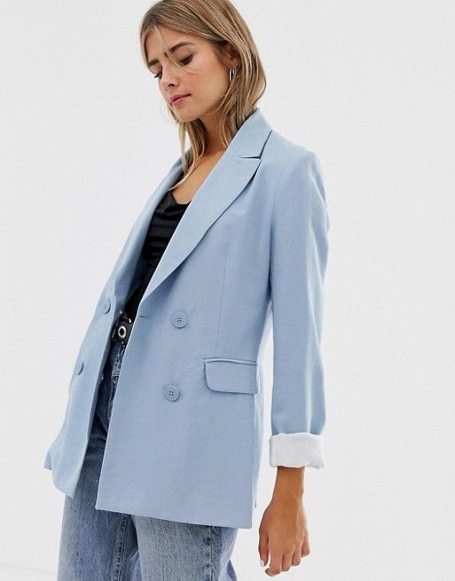 great deals 2017 new appearance wholesale dealer Bershka longline double breasted blazer in blue | Blazers for ...