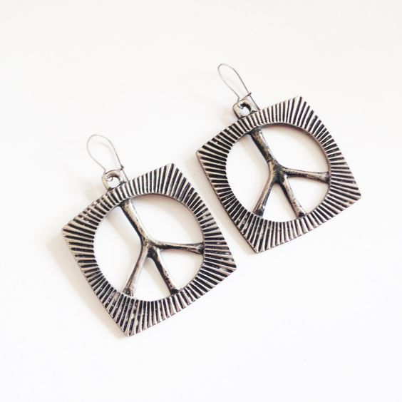 Vintage 70's Ban the Bomb, Dangly Earrings by RetroroxJewellery on Etsy