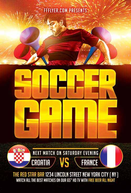Soccer Game Free Flyer Template -    freepsdflyer soccer - free sports flyer templates