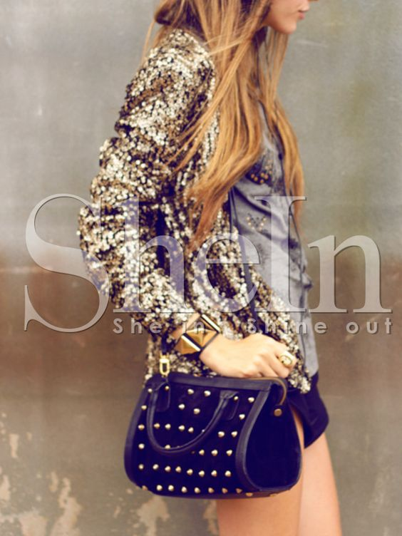Shop Women Gold Collarless Sequined Coat online. SheIn offers Women Gold Collarless Sequined Coat & more to fit your fashionable needs.