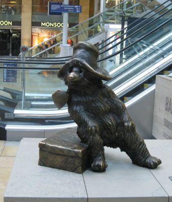 Paddington Station, London - statue of Paddington, the bear