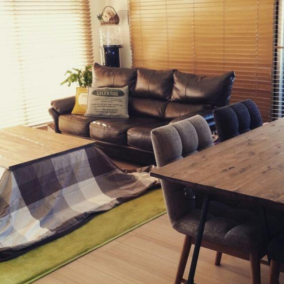 Rikokkumamaさんの、部屋全体,DIY,こたつ,ウッドブラインド,ベルメゾン,ナフコ,いなざうるす屋さん,SPF材,こたつ天板DIY,こどもと暮らす。,のお…
