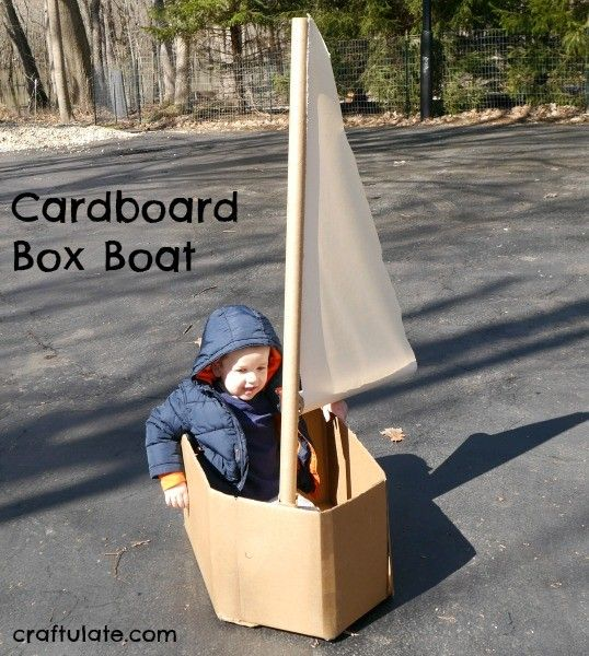 Cardboard Box Boat - a fun upcycling craft to make for the kids!