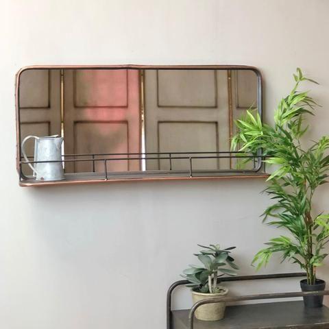 Industrial Metal Wall Mirror Shelf Copper Finish With Images Mirror Wall Mirror With Shelf Glass Shelves